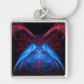 Glowing Neon Butterfly Flame Fractal Abstract Art Key Ring