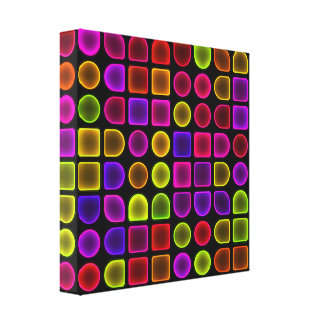 Glowing Neon Geometric Shapes Stretched Canvas Print