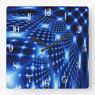 Glowing net fractal square wall clock