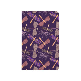 Glowing night dragonflies on dark plum background journal
