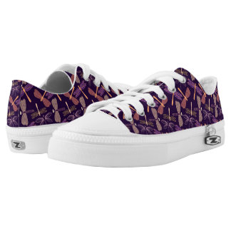 Glowing night dragonflies on dark plum background low tops
