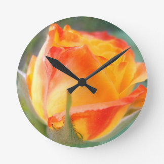 Glowing orange rose clock