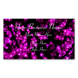Glowing Pink Flower Lights Magnetic Business Card