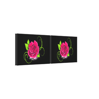 Glowing Pink Rose Duo Wall Canvas Stretched Canvas Print