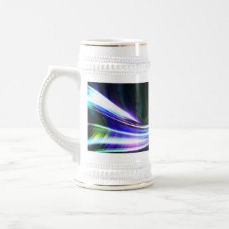 Glowing Plasma Fractal Abstract Beer Stein