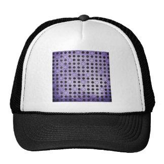 GLOWING PURPLE BLACK CIRCLES POLKADOTS GRUNGE POLK HAT