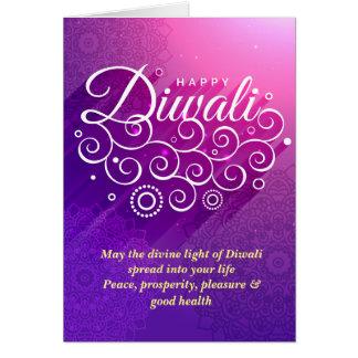 Glowing Purple divine vines ornament Happy Diwali Card