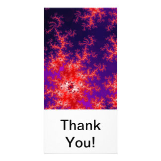 Glowing Red Fractal Photo Card Template