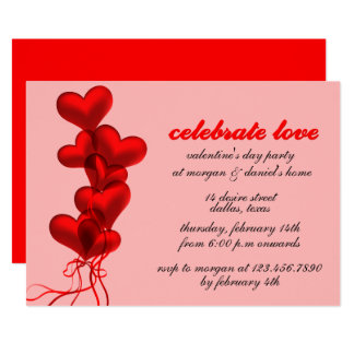 Glowing Red Heart Balloons Valentine's Day Party Card