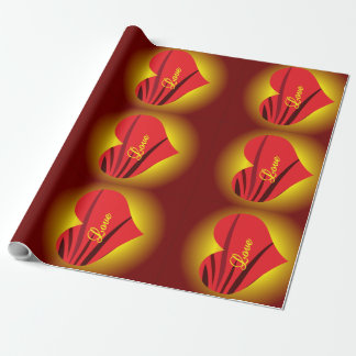 Glowing Red Hearts Matte Wrapping Paper 30x15'