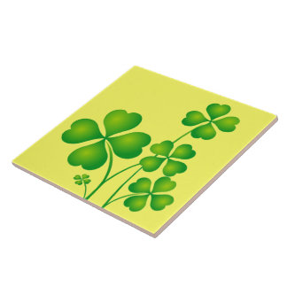 Glowing Shamrocks Ceramic Tile