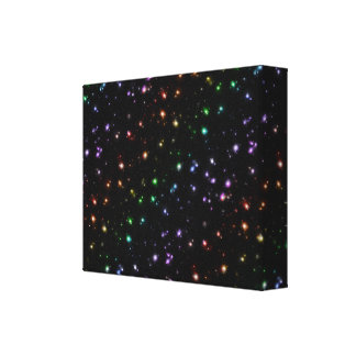 Glowing Shiny Rainbow Stars In Space Gallery Wrapped Canvas