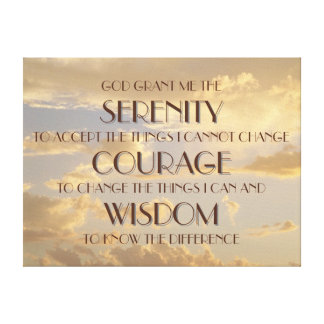 Glowing Sky Serenity Prayer Wrapped Canvas Print