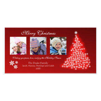 Glowing Snowflake Tree Photocard (red) Picture Card