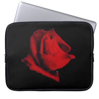 Glowing soft red rose mystery laptop sleeve