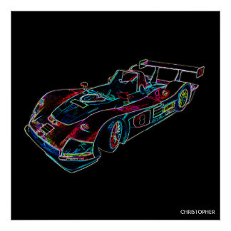Glowing Sparkling Racing Luxury Neon Colors Car Poster