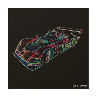 Glowing Sparkling Racing Luxury Neon Colors Car Wood Canvases