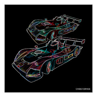 Glowing Sparkling Racing Luxury Neon Colors Cars Poster