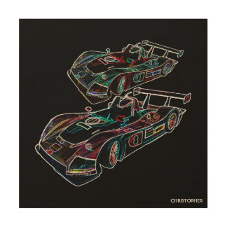 Glowing Sparkling Racing Luxury Neon Colors Cars Wood Prints