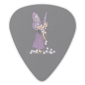 Glowing Star Flowers Pretty Purple Fairy Girl White Delrin Guitar Pick