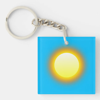 Glowing Sun. Deep Sky Blue Background. Double-Sided Square Acrylic Key Ring
