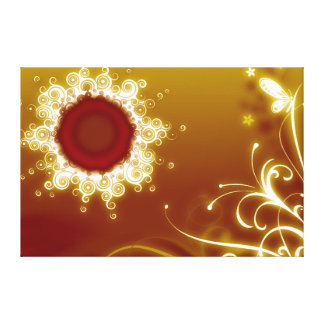 Glowing Sunburst, Butterfly & Vines Stretched Canvas Prints