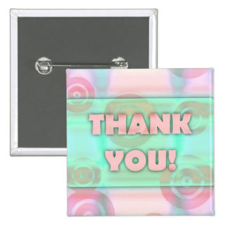 Glowing Target Rings Thank You Baby Pink Blue Ice 15 Cm Square Badge