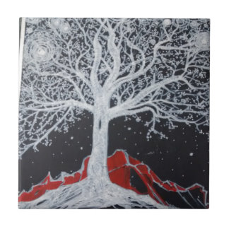 Glowing tree of life on a black background small square tile