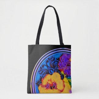 Glowing tropical hibiscus on black tote bag