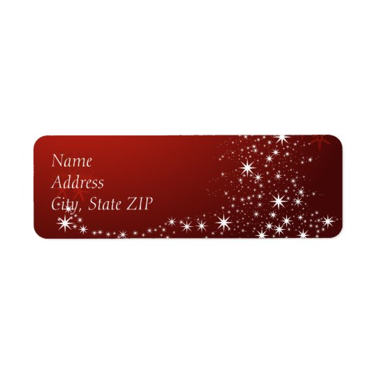 Glowing White Lights on Red Return Address Label