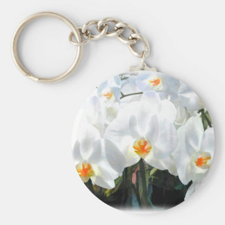 Glowing White Phalaenopsis Orchids Key Ring