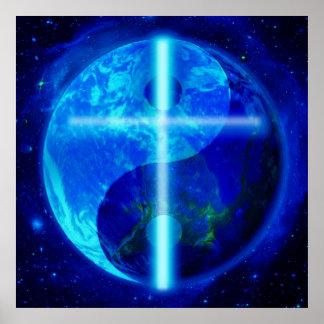 Glowing Ying Yang Earth Cross Poster