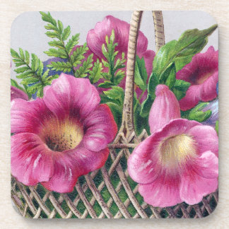 Gloxinia and Ferns in Basket Vintage Victorian Coaster