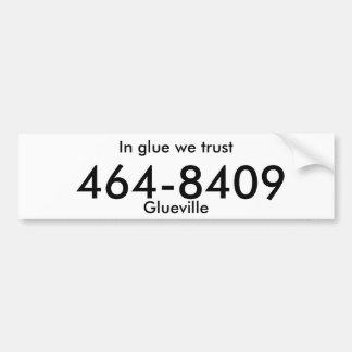 """glueville"" fake license plate bumper sticker"