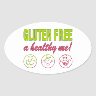 Gluten Free A Healthy Me! Gluten Allergy Celiac Oval Sticker