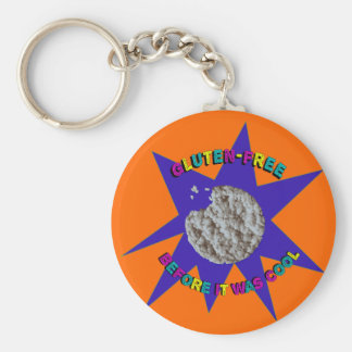 """""""Gluten-Free Before it was Cool"""" Retro '80s-'90s Basic Round Button Key Ring"""