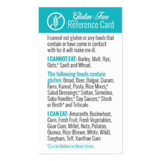 Gluten-Free Reference Card Pack Of Standard Business Cards