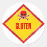 Gluten Poison Warning Round Sticker