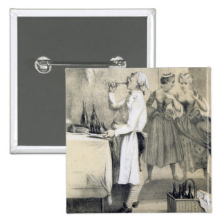 Gluttony in the Kitchen, from a series of prints d 15 Cm Square Badge