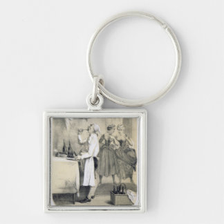 Gluttony in the Kitchen, from a series of prints d Silver-Colored Square Key Ring