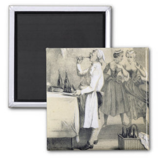Gluttony in the Kitchen, from a series of prints d Square Magnet