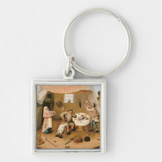 Gluttony Silver-Colored Square Key Ring