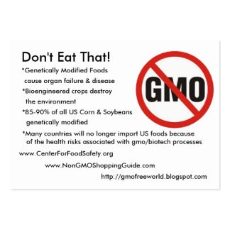 GMO-Free, Don't Eat That!, *Genetically Modifie... Pack Of Chubby Business Cards