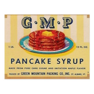 gmp pancake syrup label post card