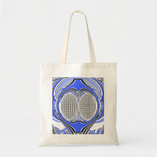 Gnarly superfly in blue and white canvas bag