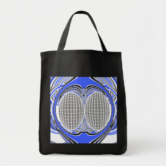 Gnarly superfly in blue and white tote bag