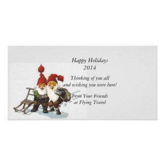 Gnome Friends at Christmas Customised Photo Card