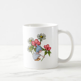 Gnome Girl Picking Flowers, Fanstasy Art Coffee Mug
