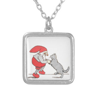 Gnome Holding Cat Paws Silver Plated Necklace