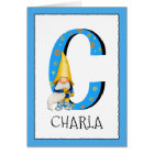 Gnome Kids Letter C Name and Age Birthday Greeting Card